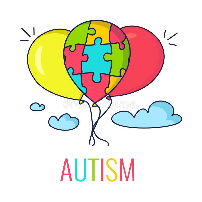 Autismbegrepp med ballonger stock illustrationer
