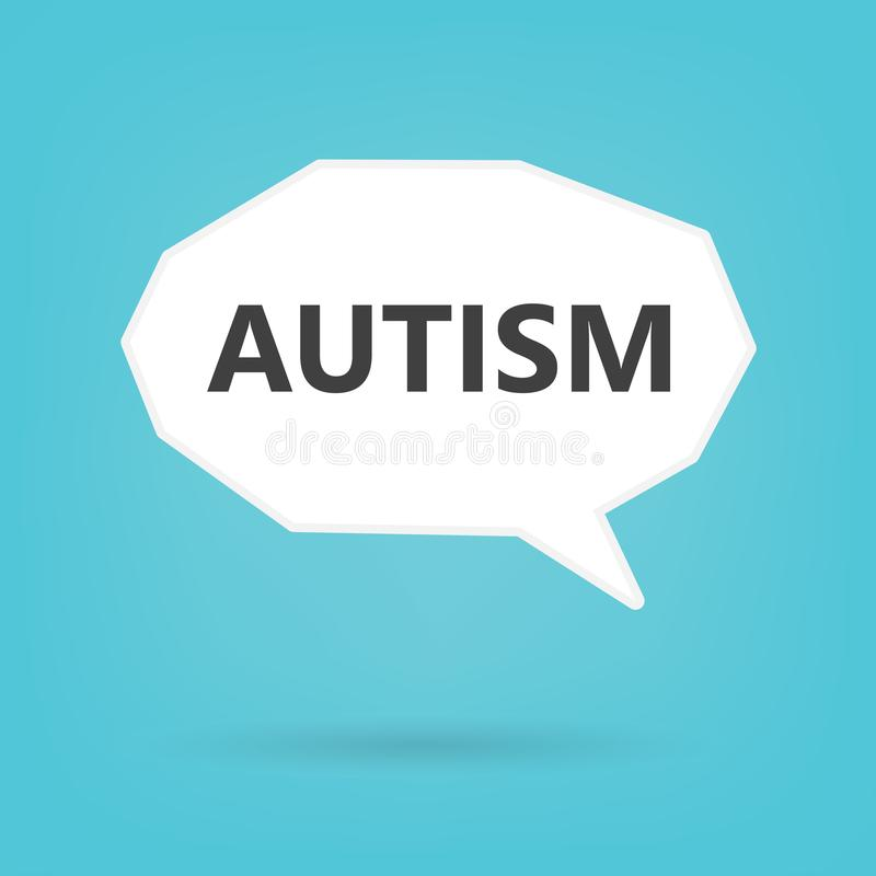 Autisme dat op toespraakbel wordt geschreven royalty-vrije illustratie
