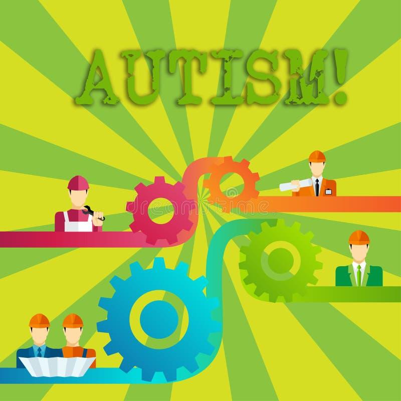 Autisme des textes d'écriture de Word Concept d'affaires pour la conscience d'autisme conduite par la vitesse sociale de dent de  illustration stock
