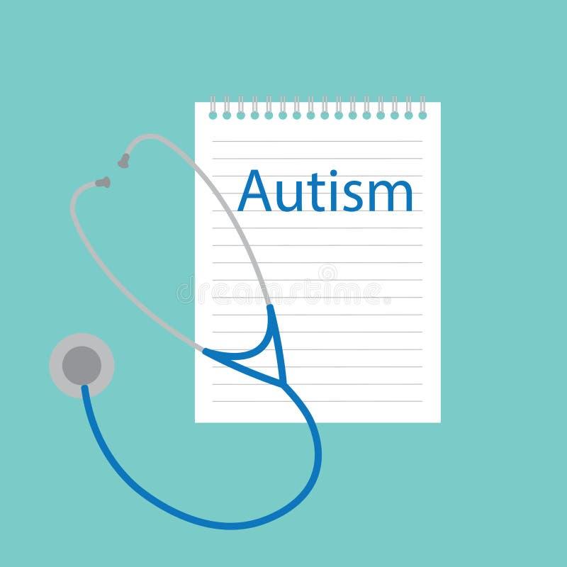 Autisme in een notitieboekje wordt geschreven dat stock illustratie