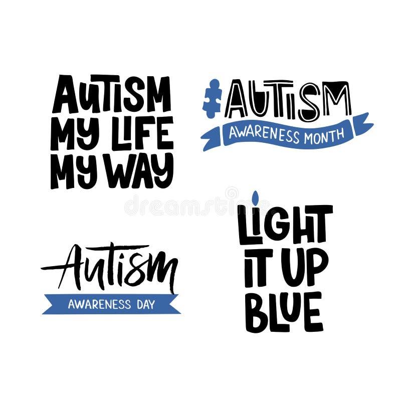 Autisme hand het getrokken van letters voorzien vector illustratie