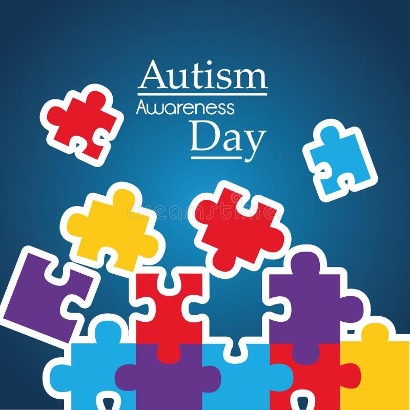 Autismmedvetenhetaffischen med pusslet lappar solidaritet- och servicesymbol vektor illustrationer