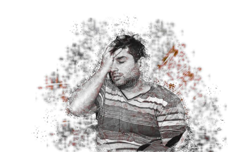 Autismo e adulto novo dos conceitos da depressão que sofre do conceito psicológico do autismo ou da depressão fotografia de stock