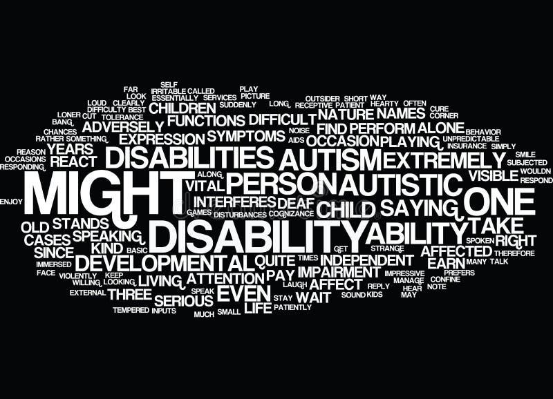 Autismo um conceito desenvolvente difícil da nuvem da palavra da inabilidade ilustração royalty free