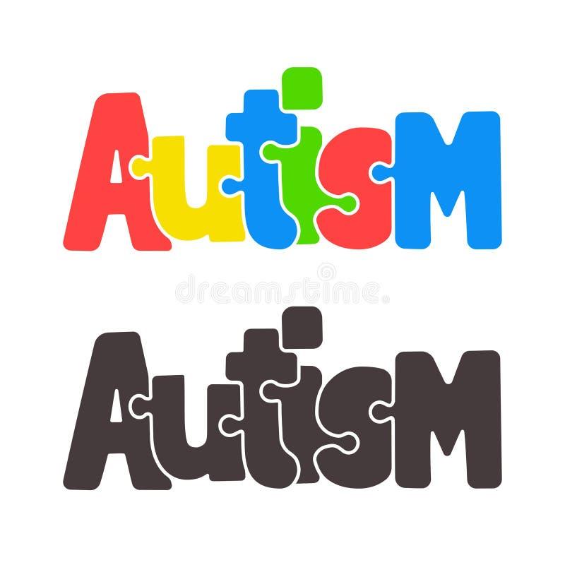 Autismpusseltext royaltyfri illustrationer