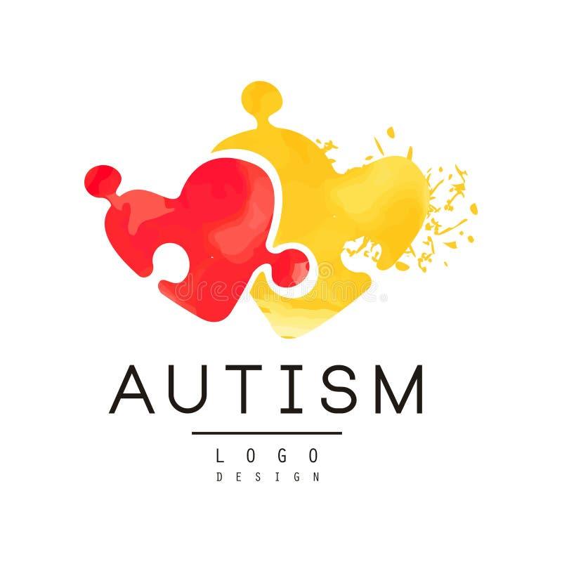 Autismusbewusstseinskonzept mit zwei Stücken des Puzzlespiels in Form der Herzen Ursprüngliches Vektorlogo für mildtätige Einrich stock abbildung