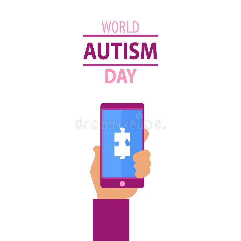 Autismusbewusstseinskonzept und menschliche Hand hält Telefon stockbilder