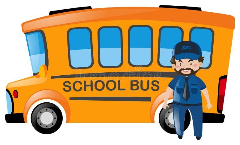 Autista di autobus che sta davanti allo scuolabus royalty illustrazione gratis