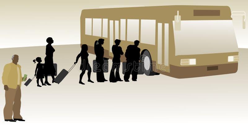 Autista di autobus con l'imbarco dei passeggeri royalty illustrazione gratis