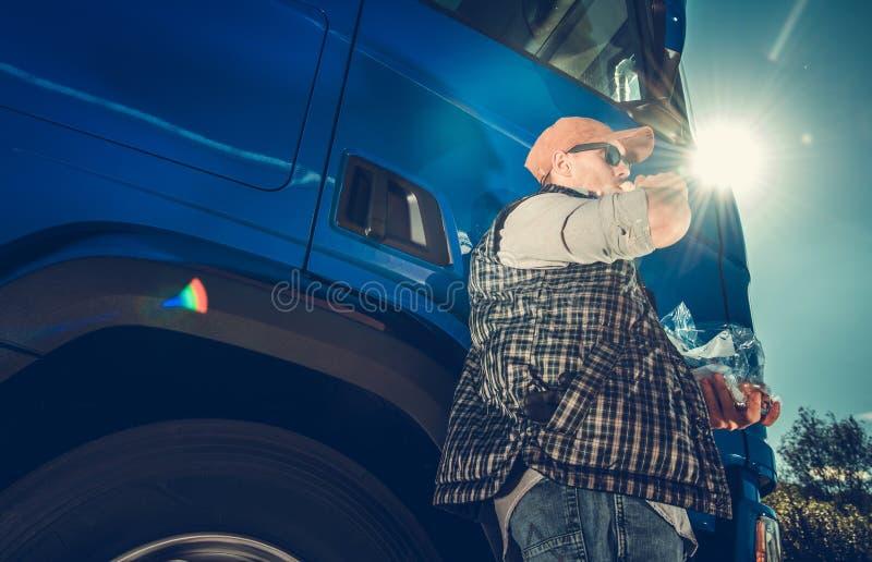 Autista di camion Lunch dei semi fotografia stock
