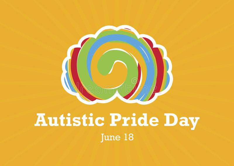 Autistic Pride Day vector. World Autism Day Poster. Brain with rainbow spiral. Important day royalty free illustration