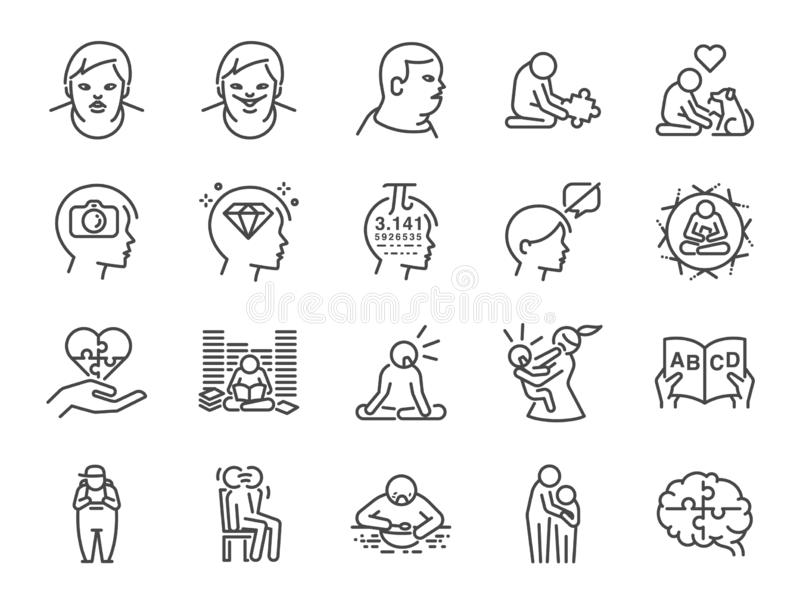 Autistischer Bewusstseinsikonensatz Schloss die Ikonen als Autismus, Gelehrtesyndrom, ASD, anormales, Störung und mehr ein stock abbildung