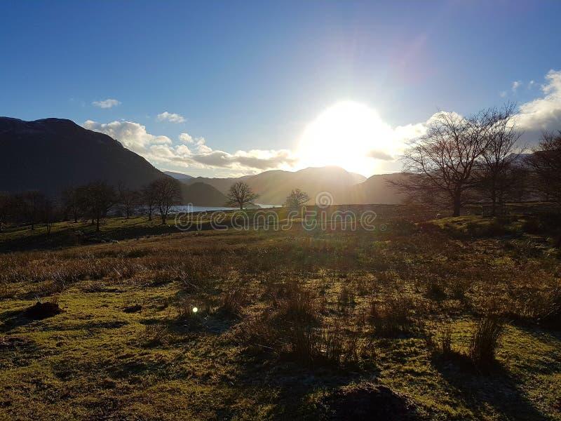 Autmn zmierzch, Ullswater, Cumbria obraz royalty free