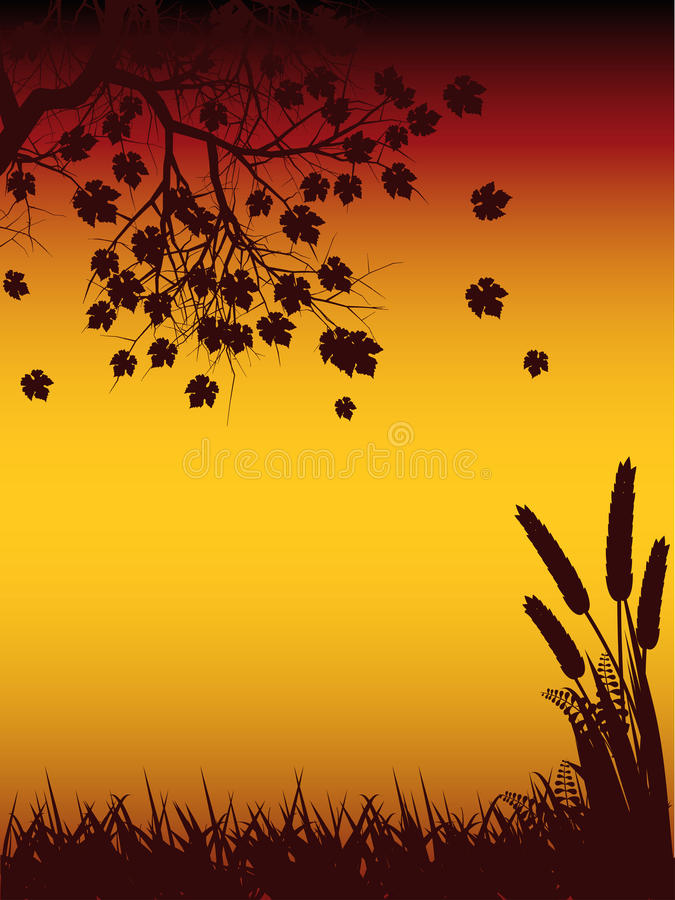 Autmun Tree And Corn Silhouette Stock Images