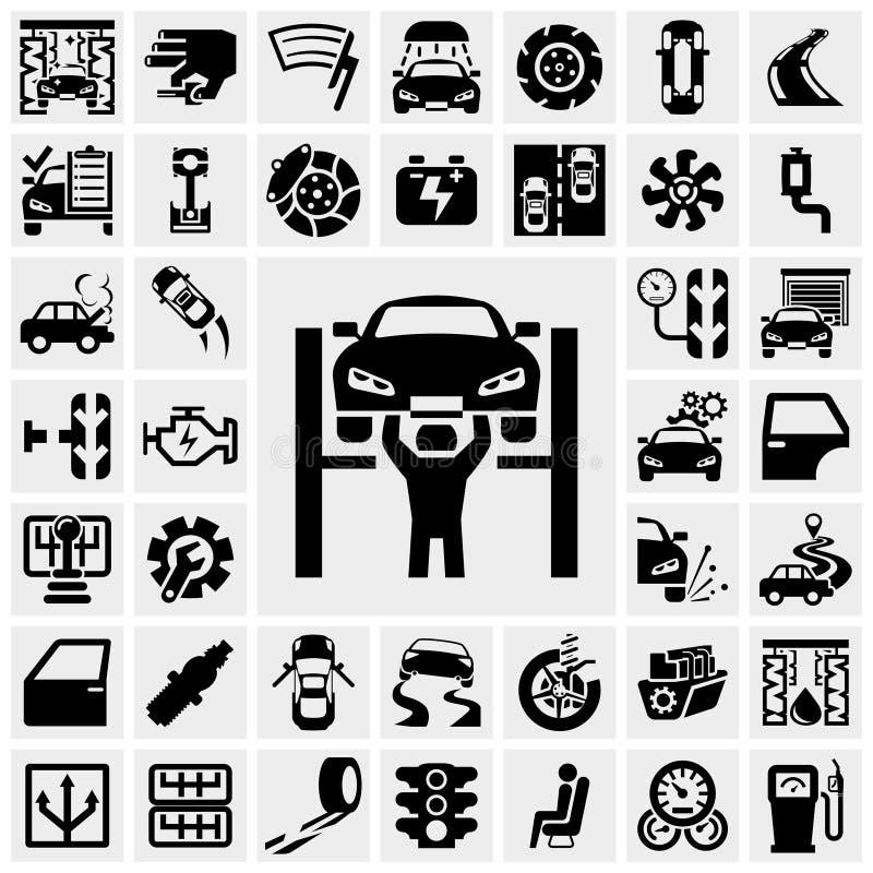 Auto ícones do vetor ajustados no cinza