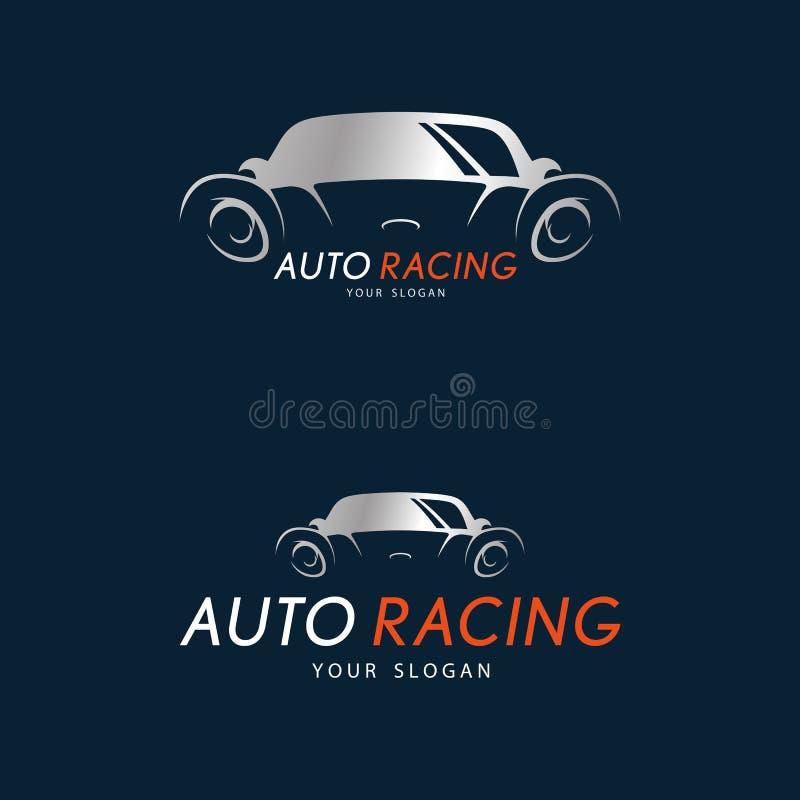 Auto ścigać się symbol na zmroku - błękitny tło Srebny sportowy samochód royalty ilustracja