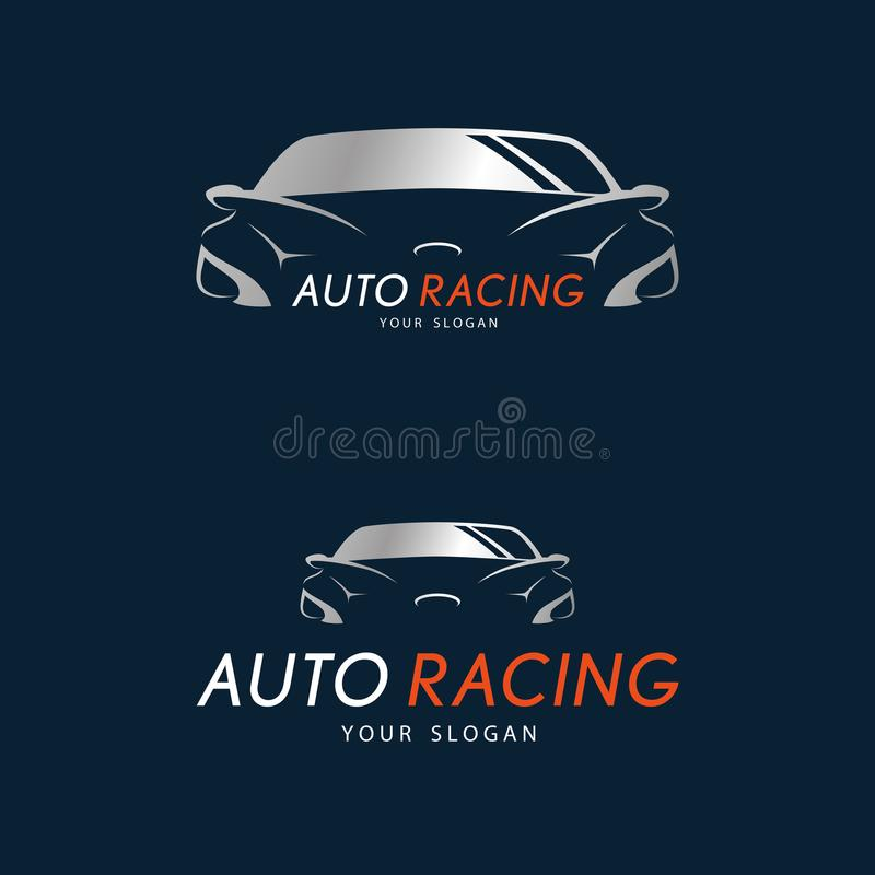 Auto ścigać się symbol na zmroku - błękitny tło Srebny sportowy samochód ilustracji