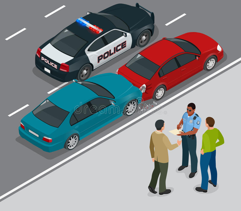 Auto accident involving two cars on a city street. Traffic policeman in car accident scene. Two Drivers Arguing After stock illustration