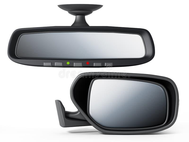 Auto achter en zijdiespiegel op witte achtergrond wordt geïsoleerd 3D Illustratie vector illustratie