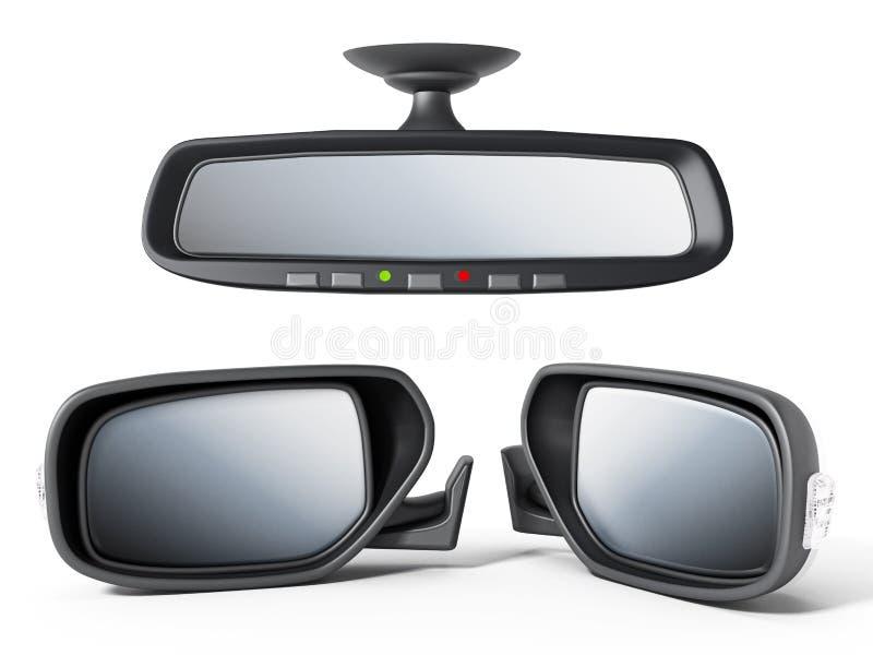Auto achter en zijdiespiegels op witte achtergrond worden geïsoleerd 3D Illustratie vector illustratie