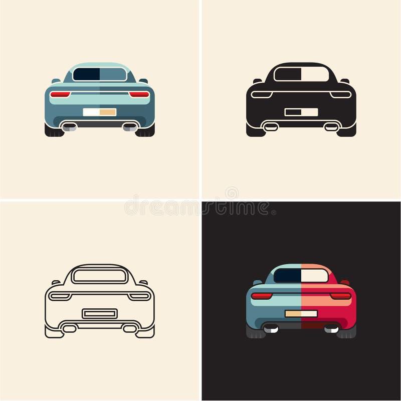 Auto achtermening Het pictogram van de auto royalty-vrije illustratie