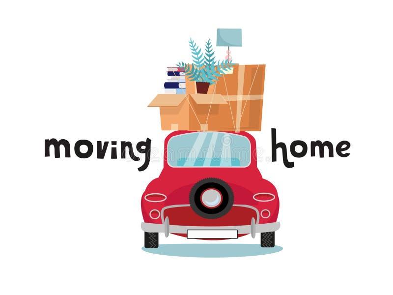 Auto achterweergeven met stapel van bagage, dozen, meubilair op witte achtergrond Rode kleine auto met materiaal op dak lamp en b vector illustratie