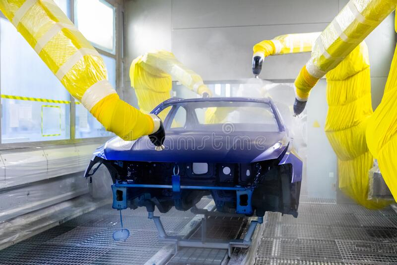 Auto air painting line for paint body part of automobile. stock photos