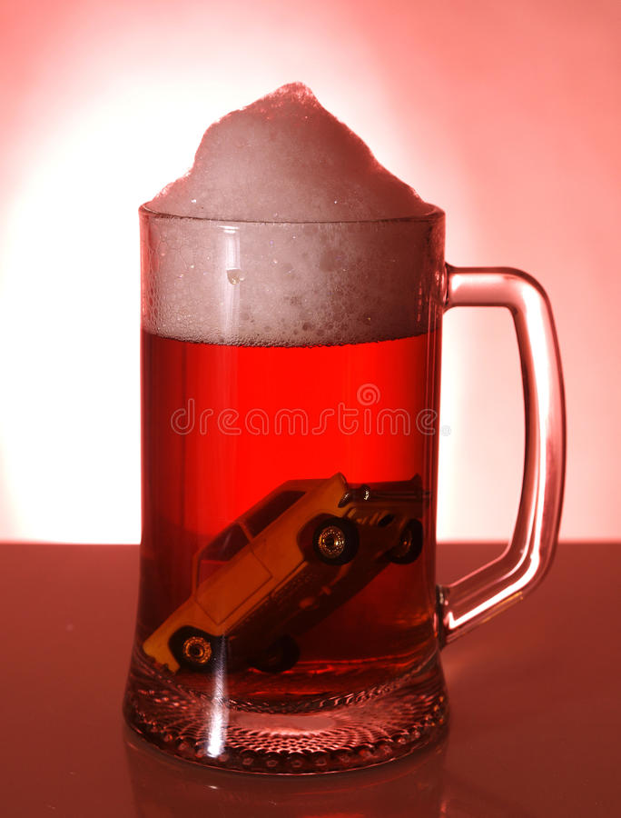 Auto and alcohol stock image