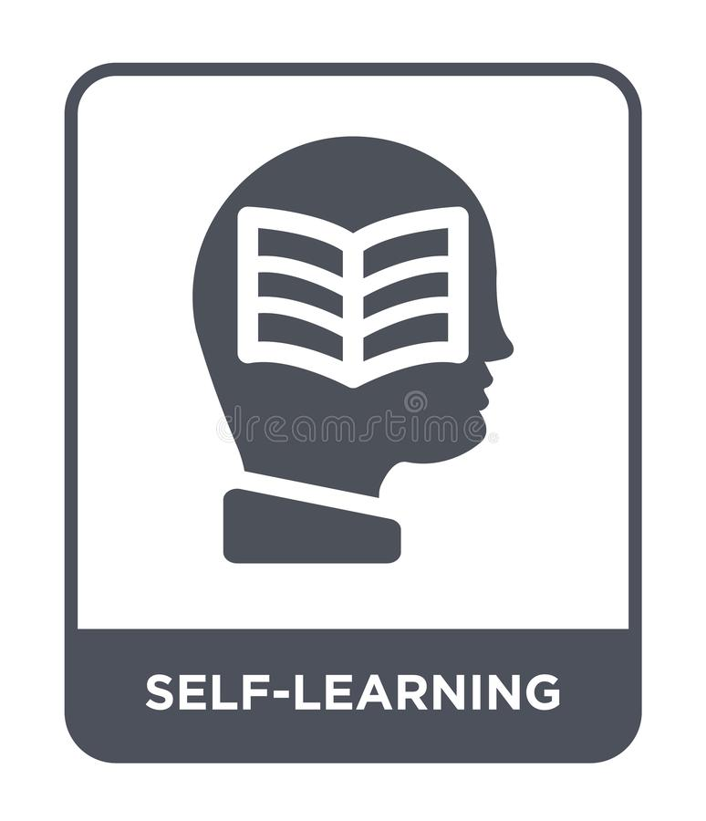 auto-aprendendo o ícone no estilo na moda do projeto auto-aprendendo o ícone isolado no fundo branco auto-aprendendo o ícone do v ilustração stock