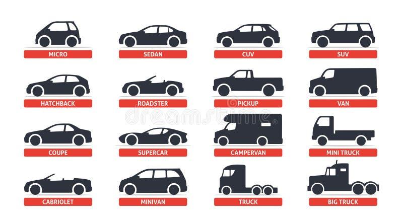 Auto-Art-und Modell-Objects-Ikonen stellten, Automobil ein Vector schwarze Illustration auf weißem Hintergrund mit Schatten Varia lizenzfreie abbildung