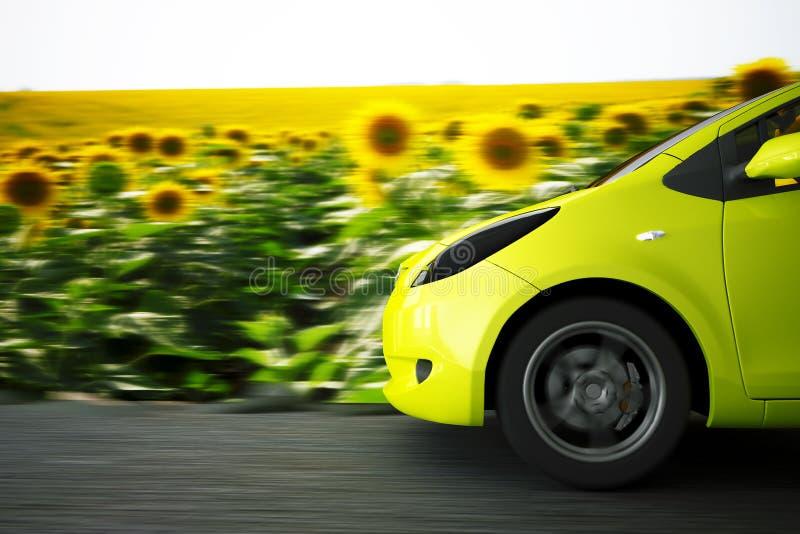 Auto auf einem Sommerhintergrund lizenzfreie stockfotos