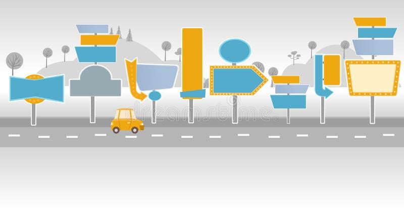 Auto auf einer Straße mit Anschlagtafeln lizenzfreie abbildung