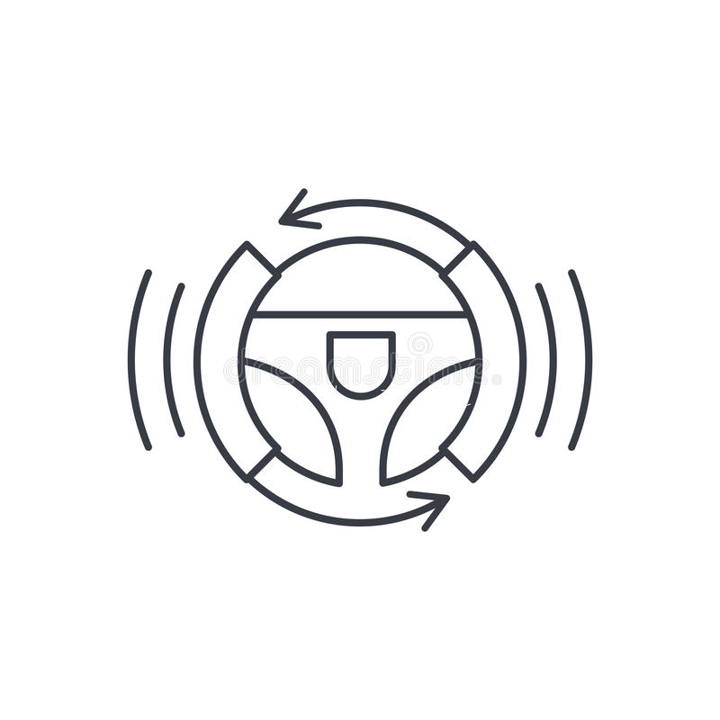 Auto autónomo, piloto automático, giropiloto, piloto automático, línea fina elegante icono del volante del coche Símbolo linear d libre illustration