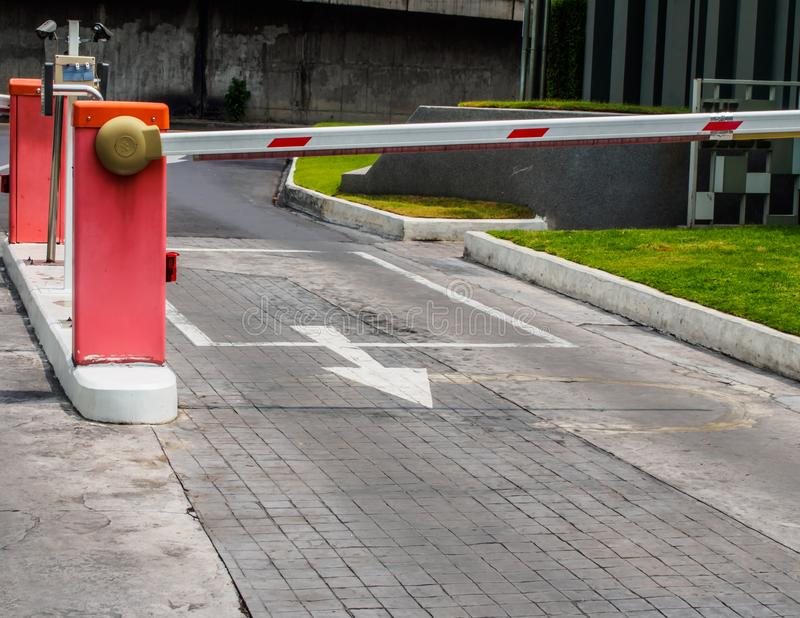 Auto barrier gate for entrance and exit from building royalty free stock photo