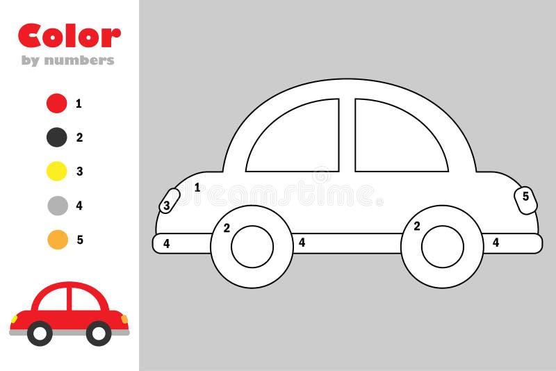 Auto in beeldverhaalstijl, kleur door aantal, onderwijsdocument spel voor de ontwikkeling van kinderen, kleurende pagina, jonge g royalty-vrije illustratie