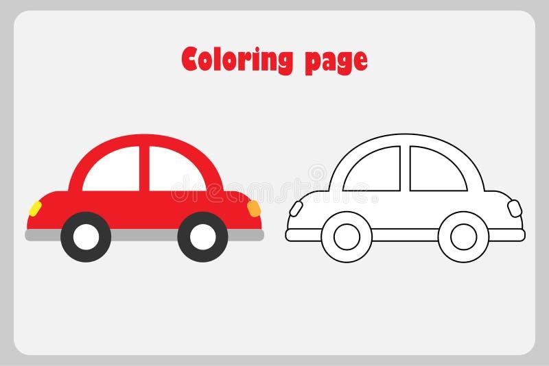 Auto in beeldverhaalstijl, kleurende pagina, onderwijsdocument spel voor de ontwikkeling van kinderen, voor het drukken geschikte stock illustratie