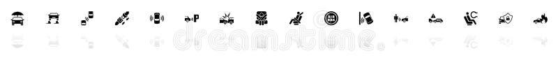 Auto bezpieczeństwo - Płaskie Wektorowe ikony ilustracja wektor