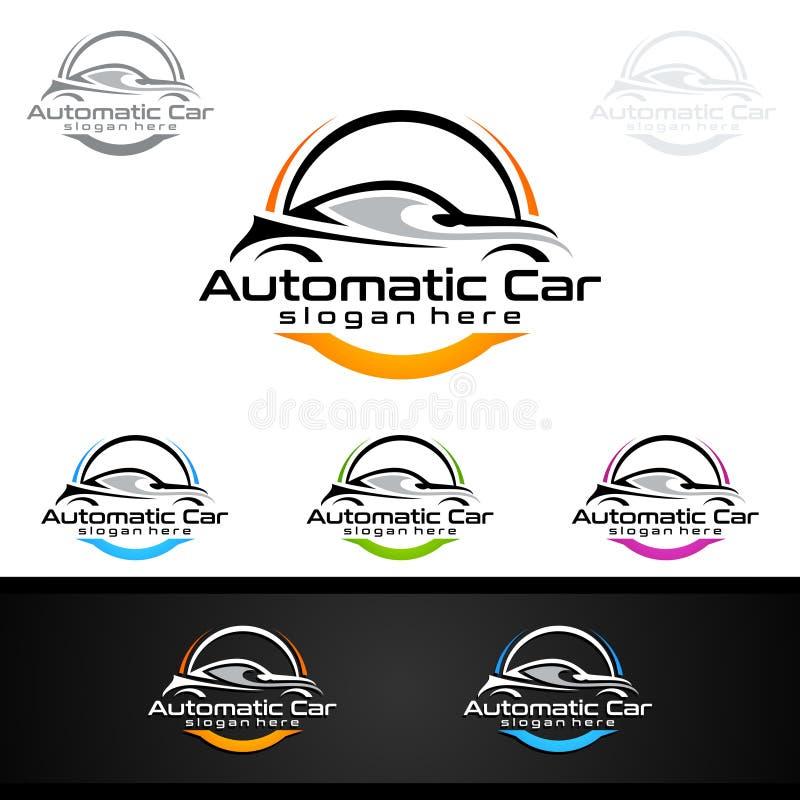 Auto billogo för sportbilar, hyra, wash eller mekaniker stock illustrationer