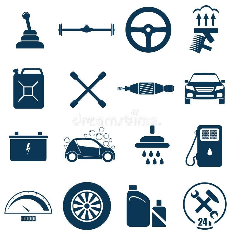 Auto bilreparations- och servicesymbol vektor illustrationer
