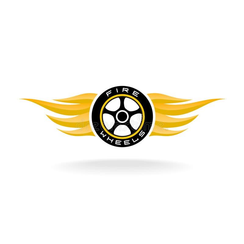 Auto bilwhell med brand påskyndar logo vektor illustrationer