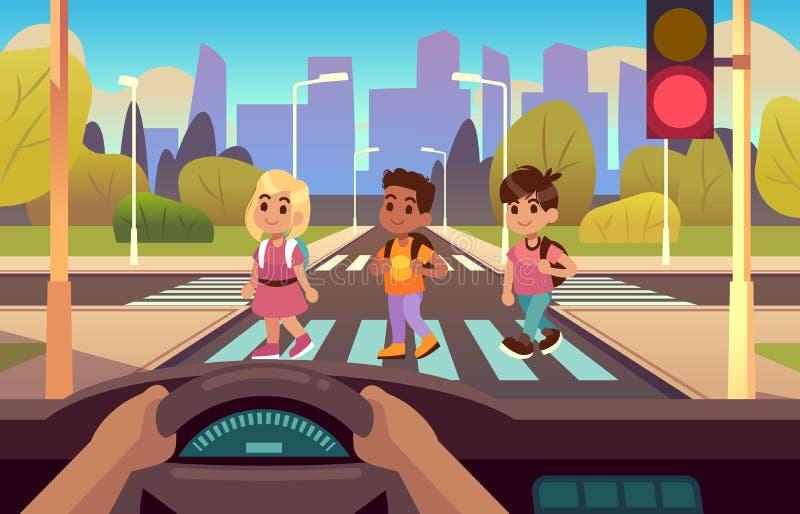 Auto binnen zebrapad Bestuurdershanden op wielpaneel, jonge geitjes die straat voetmotie, einde, lichte waarschuwing kruisen vector illustratie
