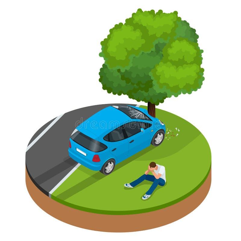 Auto brach in Baum ab Autounfallzusammenstoß-Verkehrsversicherung lizenzfreie abbildung