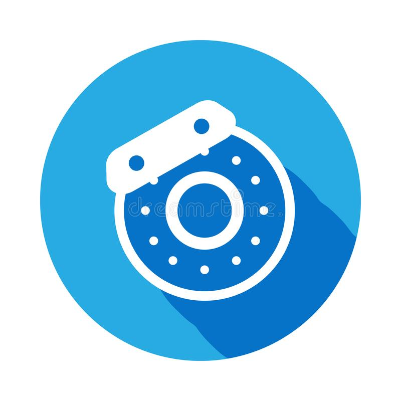 Auto brake disc icon with long shadow. Element of car repair services illustration. Signs and symbols icon for websites, web desig royalty free illustration