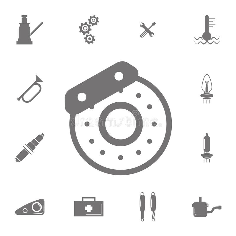Auto brake disc icon. Set of car repair icons. Signs of collection, simple icons for websites, web design, mobile app, info graphi royalty free illustration