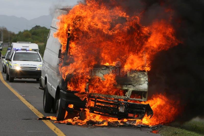 auto burningpolis royaltyfri fotografi