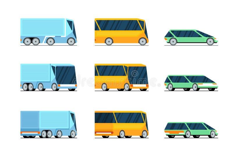 Auto bus vrachtwagen zijkant vooraanzicht en achteraanzicht stijlvol ontwerpconcept set Futuristisch elektrisch hybride automotor royalty-vrije illustratie