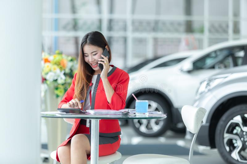 Auto business, car sale, gesture and people concept - smiling bu royalty free stock photo