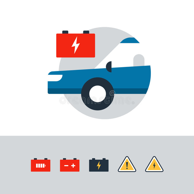 Auto car accumulator, replacement services, electrical failure, battery icon. Blue car in a circle with a red accumulator. Flat design vector illustration stock illustration