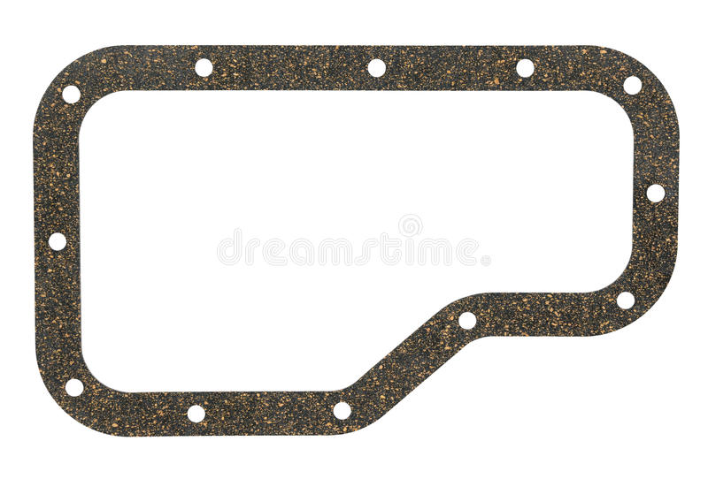 Auto car gasket. A rubber cork gasket for a car gearbox, isolated royalty free stock images