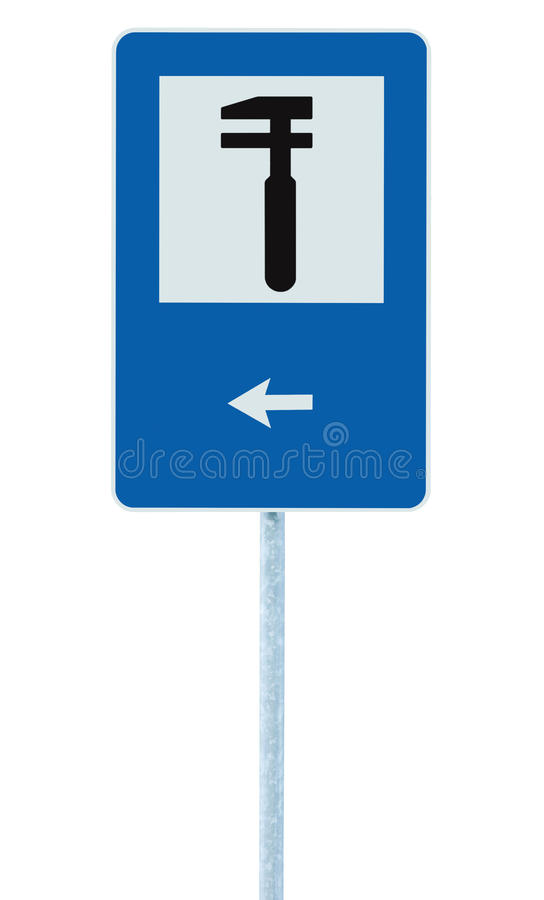 Auto Car Repair Shop Icon, Vehicle Mechanic Fix Service Garage Road Traffic Sign Roadside Pole Post Signage, Isolated, Black Arrow. Pointer Left royalty free stock photography